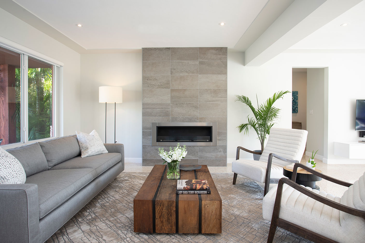 Custom Fireplace and living room design in Miami Florida by Miami designer Darla Powell