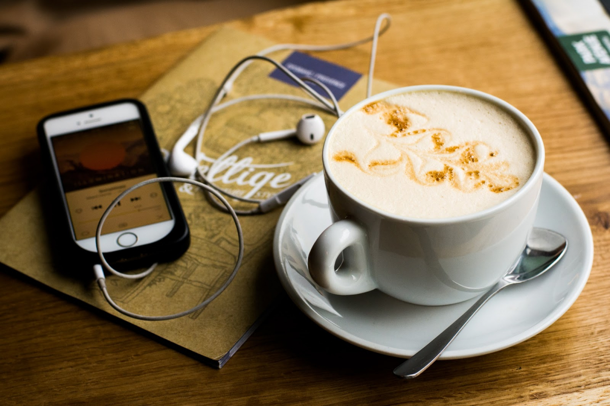 cappuccino spoon iphone headphones music soothing relax home coronavirus ideas